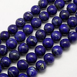 Natural Lapis Lazuli Beads Strands, Grade A-, Round, 6mm, Hole: 1mm; about 62pcs/strand, 16inches