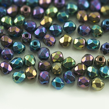 Czech Fire Polished Glass Beads, Faceted, Drum, Colorful, 6x6mm, Hole: 1mm; about 380pcs/bag(GLAA-F100-D20)