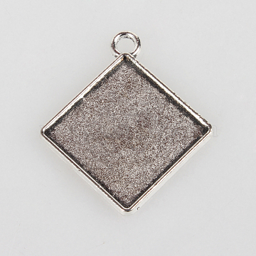 Vintage Tibetan Style Alloy Rhombus Pendant Cabochon Bezel Settings, Cadmium Free & Lead Free, Antique Silver, Tray Side Length: 15mm, Diagonal Length: 21mm; 27x23x2mm, Hole: 3mm(X-TIBEP-O006-59AS)