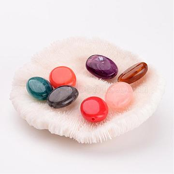 19mm Mixed Color Oval Acrylic Beads
