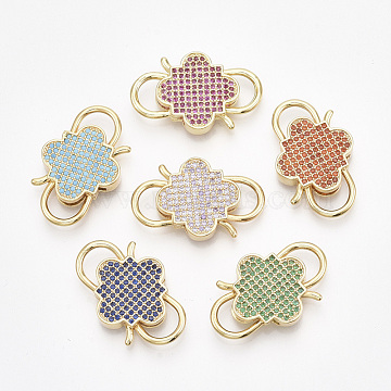 Golden Plated Brass Micro Pave Cubic Zirconia Clasps, Mixed Color, 27x17x4mm(ZIRC-S061-133)
