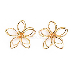 Brass Wire Beads, Nickel Free, Flower, Real 18K Gold Plated, 1x1x1/4 inch(24x25x7mm)(KK-S360-061-NF)