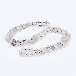 естественно агат бисера ожерелья, матовый, вокруг, 60 (152.4 см)(NJEW-P202-60-B22)
