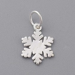 925 Sterling Silver Charms, with Jump Ring, Snowflake, Silver, 14.5x10.5x1mm, Hole: 4mm(X-STER-T002-290S)