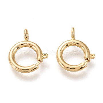Brass Spring Ring Clasps, Long-Lasting Plated, Real 18K Gold Plated, 16.5x13.5x2~4.5mm, Hole: 2.4mm(KK-F820-39G)