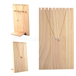 Wooden Necklace Jewelry Necklace Holder, Long Chain Display Stand, BurlyWood, 25.2x14.8x9.5cm(BDIS-WH0002-04)