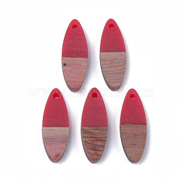 Resin & Wood Pendants, Horse Eye, Red, 28x9.5x3.5~4mm, Hole: 1.8mm(X-RESI-S358-18A)