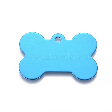 Pendentifs d'animal de compagnie en aluminium, estampillage d'une étiquette vierge, os, bleu foncé, 25x38x1mm, Trou: 3mm(ALUM-I002-06G)