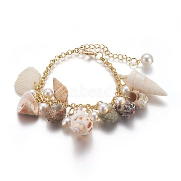 Natural Conch Shell Charm Bracelets, with Acrylic Imitation Pearl and Iron Rolo Chains, Golden, 23cm(include extender chain)(X-BJEW-WH0005-01P)