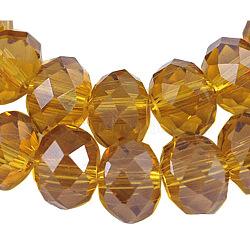 стекло бисер нитей, Блеск перлы покрытием, кристалла Suncatcher, Rondelle граненый, darkgoldenrod, 4x3 mm, отверстия: 1 mm; о 140~145 шт / прядь, 18.9(X-EGLA-GR4MMY-13L)