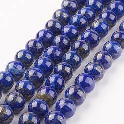 Natural Lapis Lazuli Beads Strands, Round, 8mm, Hole: 1mm; about 48pcs/strand, 15.7inches(40cm)