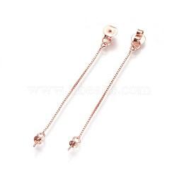 Écrous d'oreille en argent sterling s925, avec des chaînes de boîte, pour la moitié de perles percées, sculpté 925, or rose, 54mm, trou: 0.6 mm; plateau: 3 mm; broche: 0.6 mm(STER-F046-05RG)