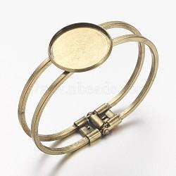 латуни браслет делает, пустое основание браслета, античная бронза, 60 mm; лоток: 25 mm(X-MAK-S001-SZ027AB)