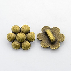 Tibetan Style Alloy Slide Charms, Flower, Nickel Free, Antique Bronze, 21x8mm, Hole: 2x10mm(PALLOY-J417-38AB-NF)