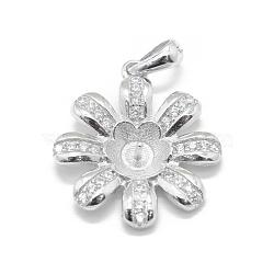 Pendentif de bélière en 925 argent sterling, avec zircon cubique, pour la moitié de perles percées, fleur, clair, platine, 21x18.5x3mm, trou: 4.5x3mm; broches: 0.8mm; Plateau: 6.5mm(STER-L055-014P)