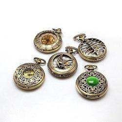 Alliage mixte composants horlogers de la tête de wathch, bronze antique, 65~68x47~48x15~18mm(WACH-M032-M)