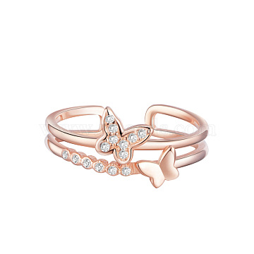 TINYSAND 925 Sterling Silver Cuff Rings, Open Rings, Double Butterfly with Cubic Zirconia, Rose Gold, Size 6, 16mm(TS-R404-RG)