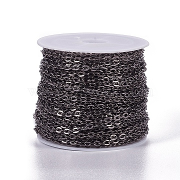 Iron Cable Chains, Unwelded, Flat Oval, Popular for Jewelry Making, Important Decoration, Lead Free & Nickel Free, Gunmetal, 3x2x0.6mm(X-CH-S041-B-FF)