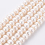 Natural Cultured Freshwater Pearl Beads Strands, Flat Round, 7.5~9x5~6mm, Hole: 0.5mm, about 64~65pcs/strand, 15.35 inches~15.55 inches(39~39.5cm)