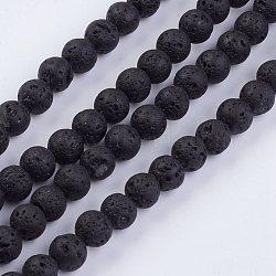 """Chapelets de perles de lave naturelle, rond, 6~7mm, trou: 1mm; environ 63 pcs/chapelet, 15.35""""(G-F436-6mm)"""