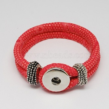 PU Leather Bracelet Making, with Brass Snaps and Alloy Findings, Snap Bracelets, Platinum, FireBrick, 230x19mm(X-AJEW-R023-08)