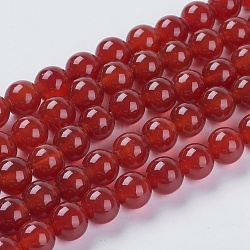 Natural Red Agate Beads Strands, Dyed, Round, DarkRed, 8mm, Hole: 1mm