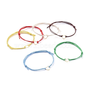 Adjustable Waxed Cotton Cord Bracelets, with 304 Stainless Steel Heart Jump Ring, Mixed Color, 1-5/8 inches~3-1/2 inches(4~9cm)(X-BJEW-JB05064)