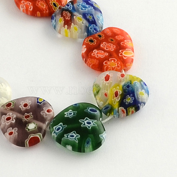 Heart Handmade Millefiori Glass Beads Strands, Mixed Color, 12x12x3.5mm, Hole: 0.5mm; about 32pcs/strand, 13.7 inches(LK-R004-67)