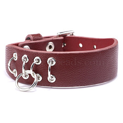 """Bracelets de montre en cuir d'unité centrale réglables, avec les accessoires en alliage, des anneaux de fer, firebrick, 8-5/8"""" (22cm); 19mm(WACH-F053-A03)"""