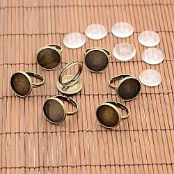 Старинные компоненты латунные кольца и прозрачного стекла кабошонов, без никеля , античная бронза, лоток : 16 мм; 17 мм, стеклянные кабошоны: 15.73~16.13 мм(DIY-X0199-AB-NF)