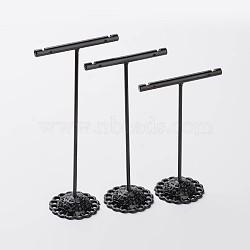 3 Pcs T Bar Iron Earring Displays Sets, Jewelry Display Rack, Jewelry Tree Stand, Black, 90x60x35mm, 110x60x35mm, 125x60x35mm, 3pcs/set(X-EDIS-P001-01B)