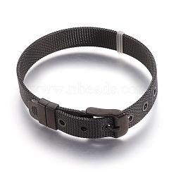 """304 bracelets de montres en inox, montre de la ceinture s'adapte breloques de glissière, gunmetal, 8-1/2"""" (21.5cm); 10mm(X-WACH-P015-02B)"""