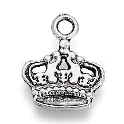 Pendentifs en alliage de style tibétain, couronne, sans plomb et sans cadmium, argent antique, 18x14x1.5mm, Trou: 2.5mm(X-TIBE-S309-43AS-RS)