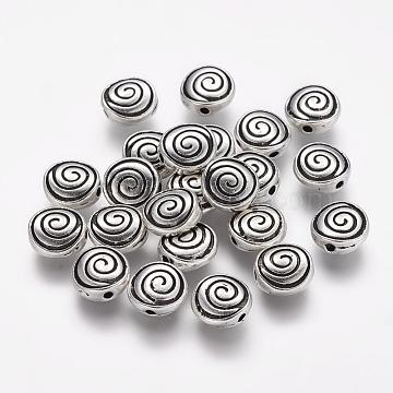 Tibetan Style Alloy Flat Round Carved Vortex Beads, Cadmium Free & Lead Free, Antique Silver, 8x4mm, Hole: 1.5mm(X-TIBEB-5437-AS-LF)