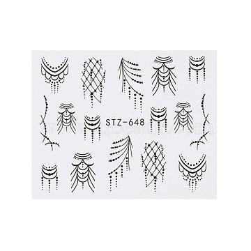 наклейки для ногтей, самоклеящийся, для украшения ногтей, черный, 6.3x5.2 cm(X-MRMJ-Q042-C14)
