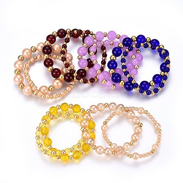 Glass Beaded Mother & Kid Stretch Bracelets Sets, with 304 Stainless Steel Beads, Round, Mixed Color, 1-3/4inches(4.5cm)~2-3/8inches(6cm); 2pcs/set(SJEW-H145-06M)