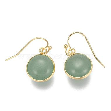 Flat Round Golden Tone Brass Natural & Synthetic Mixed Stone Dangle Earrings(EJEW-M059-M)-2