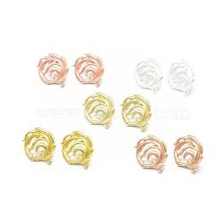 Accessoires de clou d'oreille en alliage, avec boucle, goupilles en laiton et écrous d'oreille / dos de boucle d'oreille, Plaqué longue durée, fleur, couleur mixte, 22x19mm, trou: 1.5 mm; broches: 0.7 mm(PALLOY-F255-28)