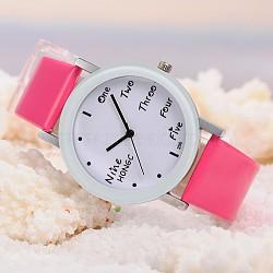 Montres de poignet en cuir d'unité centrale de quartz des femmes, avec la tonalité de platine tête de montre d'alliage, rose foncé, 225x18 mm; cadran montre: 46x39x8 mm; boitier montre: 30 mm(WACH-O006-01D)