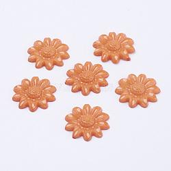 Cabochons acryliques, teint, tournesol, orange foncé, 20x3.5mm(X-BUTT-E010-10)