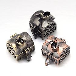 Sculptés en rack cuboïde boîte laitonnage de prière pendentifs, boîte souhaiter, couleur mixte, 17x16x18mm, Trou: 5x3mm(KK-L101-16)