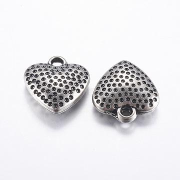 CCB Plastic Pendants, Heart, Antique Silver, 19x17.5x6mm, Hole: 2mm(CCB-G007-10AS)