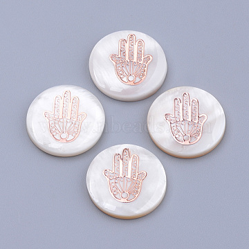 Freshwater Shell Cabochons, with Iron Findings, Flat Round with Hamsa Hand/Hand of Miriam, Rose Gold, Seashell Color,Rose Gold, 16x3.5mm(X-BSHE-S622-09)