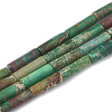 Natural Imperial Jasper Beads Strands, Dyed, Column, Green, 12~13x4~4.5mm, Hole: 1~1.2mm, about 30pcs/strand, 15.9 inches(X-G-S322-002F)