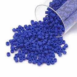 Miyuki® delica beads, perles de rocaille japonais, 11 / 0, (db 0756) cobalt opaque mat, 1x1.5 mm, trou: 0.5 mm; sur 2000 pcs / bouteille(SEED-S015-DB-0756)