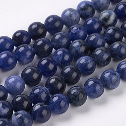 Chapelets de perles en sodalite naturelle, Grand-un, rond, 8mm, Trou: 1mm(G-E110-8mm-3)