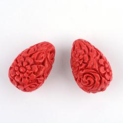 Carved Flower Cinnabar Beads, Teardrop, FireBrick, 20.5x13.5x13.5mm, Hole: 2mm(CARL-Q004-53)