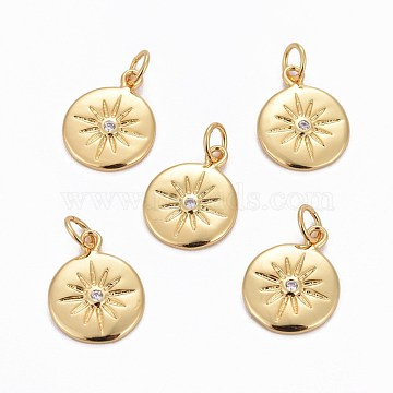 Brass Charms, with Cubic Zirconia, Flat Round with Sun, Clear, Golden, 15x12x2mm, Hole: 3.5mm(X-ZIRC-L070-63G)