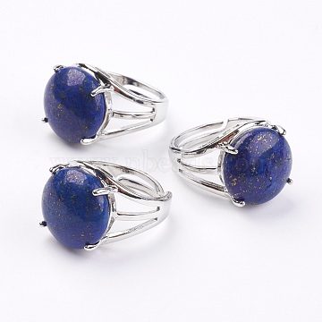 Adjustable Natural Lapis Lazuli Finger Rings, with Brass Findings, 17.5mm(RJEW-F075-01L)