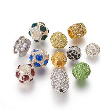 Alloy Beads, with Rhinestones, Mixed Shapes, Mixed Color, 5.5~18.5x8.5~14mm, Hole: 1~8mm(RB-MSMC002-16)
